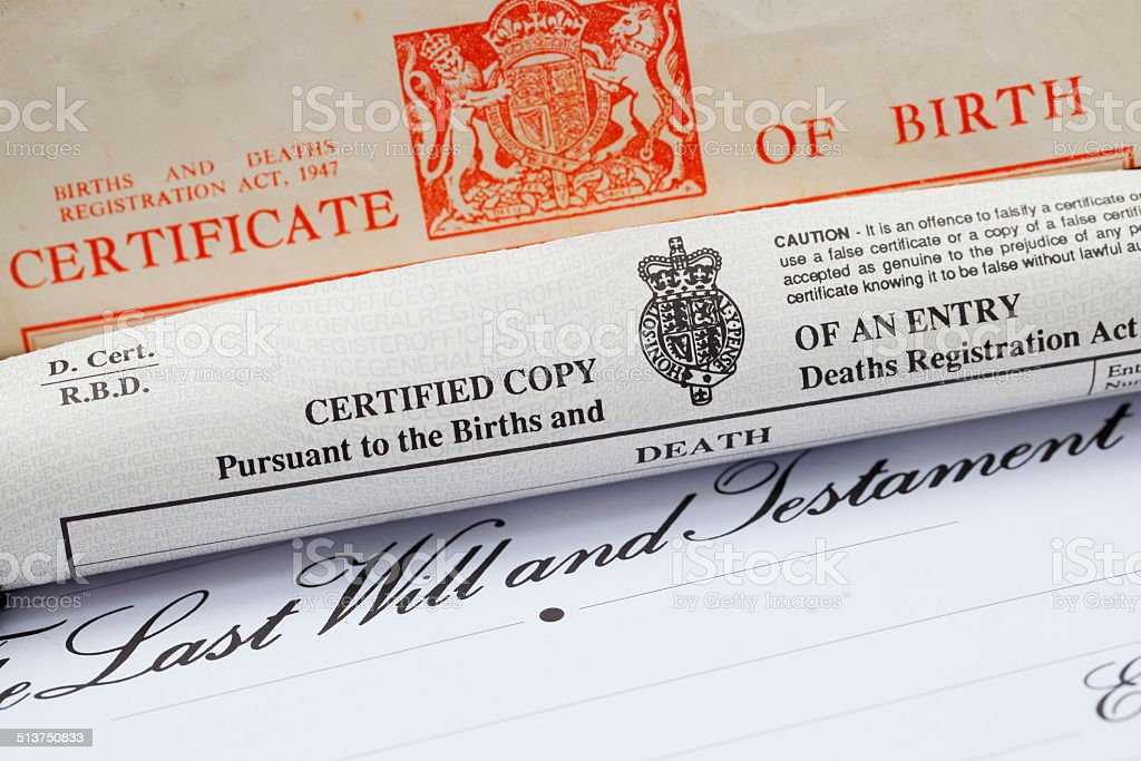 UK Birth Certificate, Death Certificate and Will stock photo