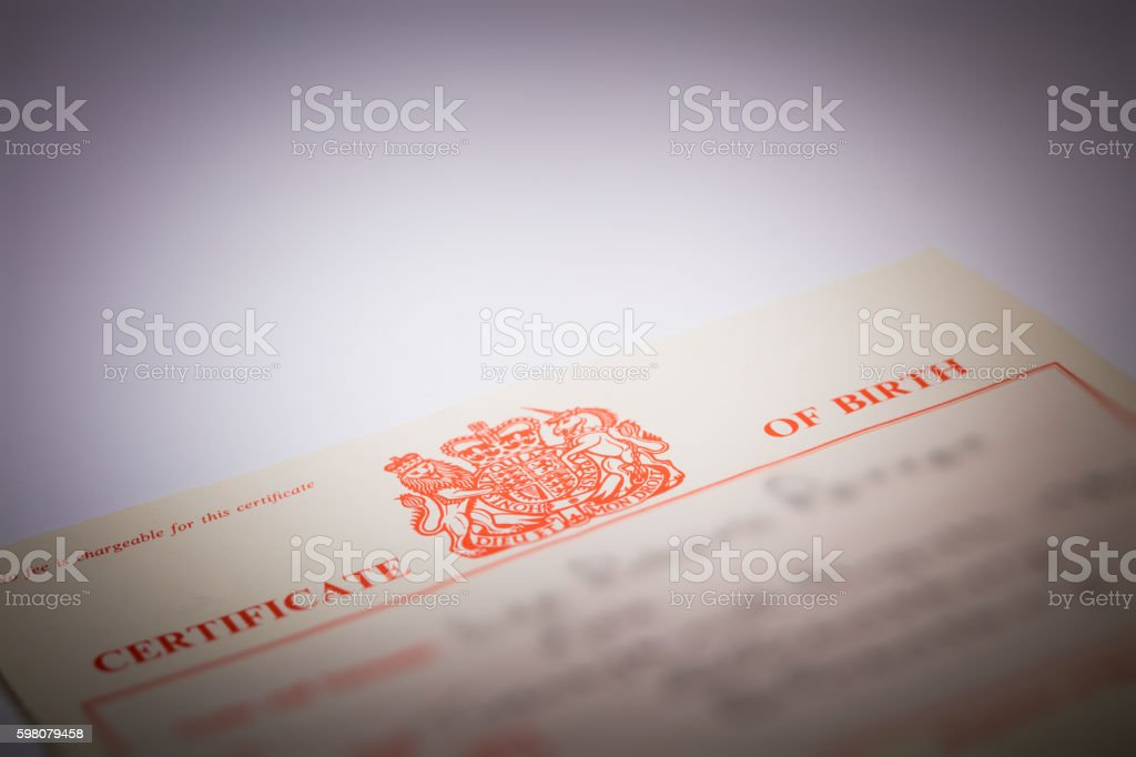 Birth Certificate stock photo