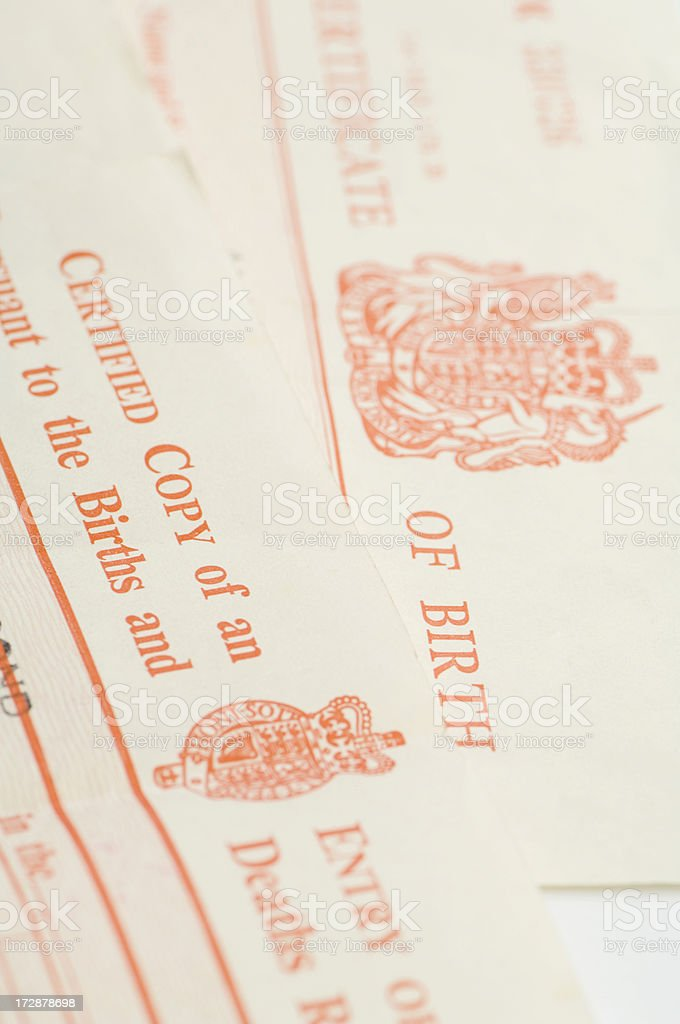 UK birth certificates stock photo