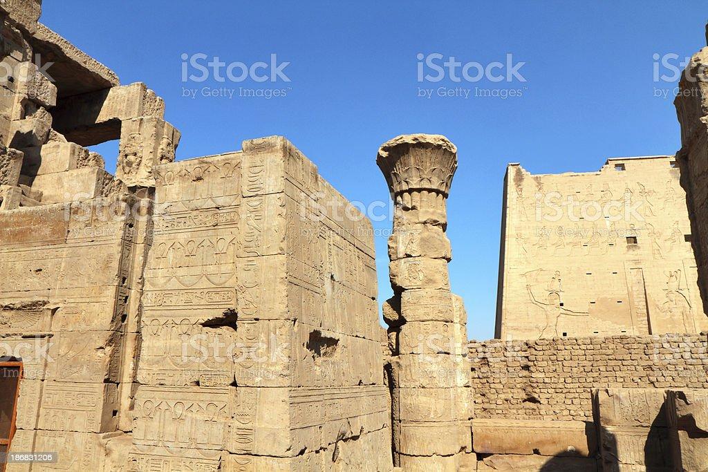 Birth House and Entrance Pylon, Temple of Horus, Edfu, Egypt stock photo