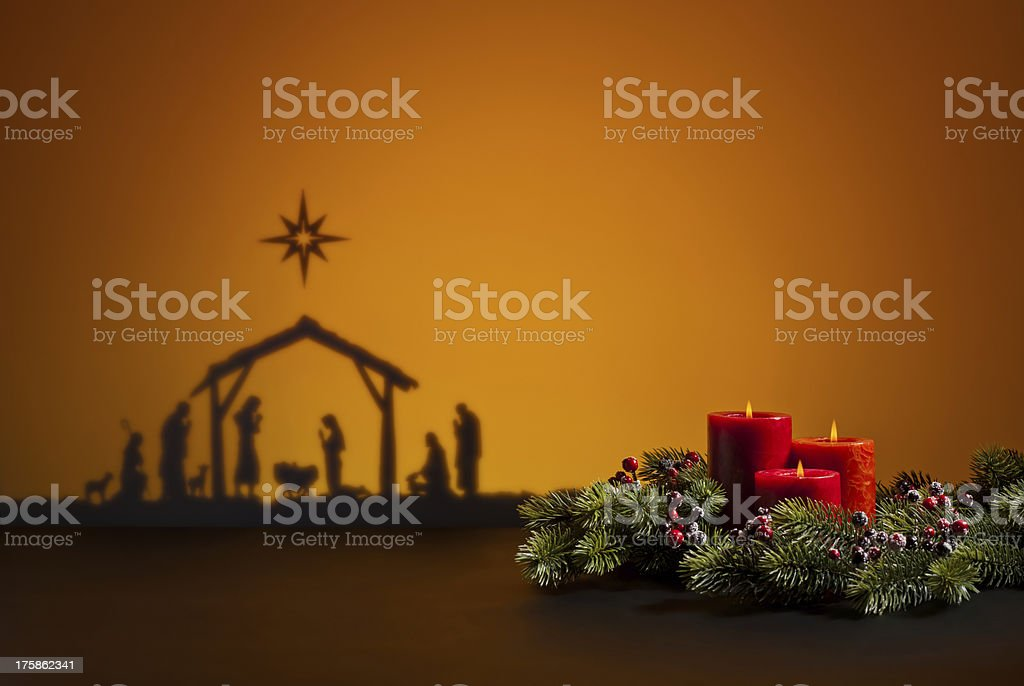 Birth Jesus and candles royalty-free stock photo