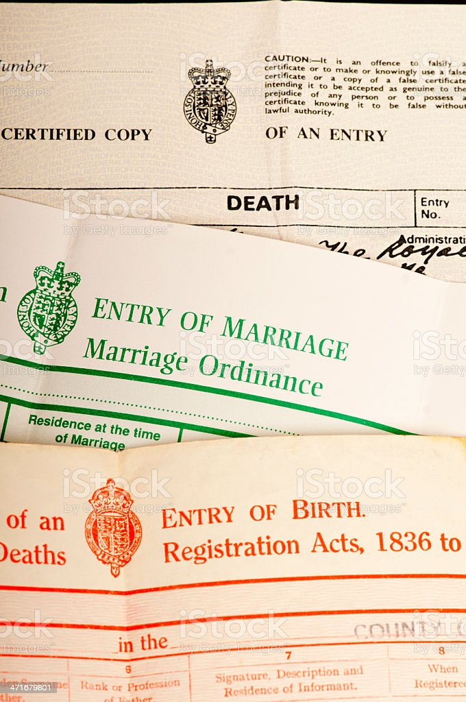 Birth, marriage and death certificates stock photo