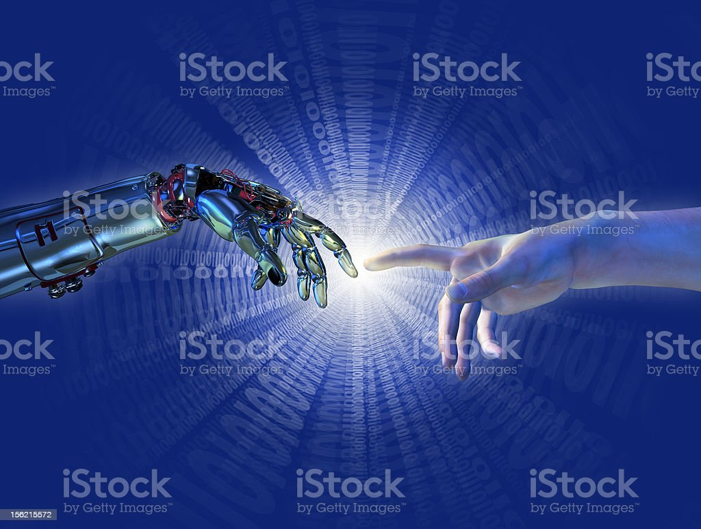 Birth of Artificial Intelligence - Binary Burst stock photo