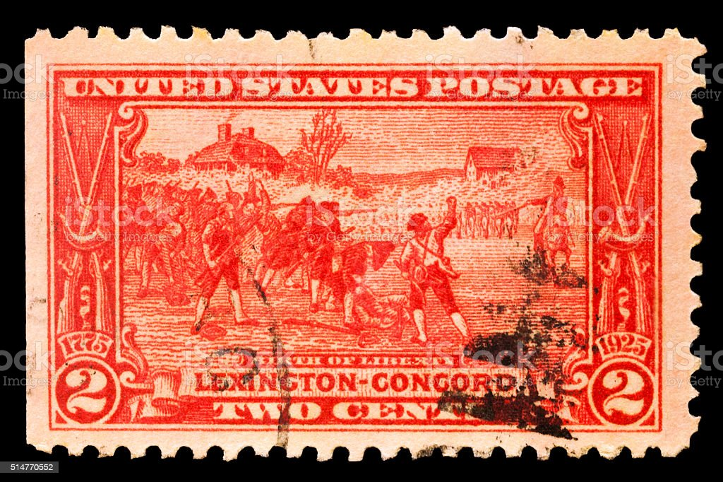 Birth of Liberty Lexington - Concord Postal Issue stock photo