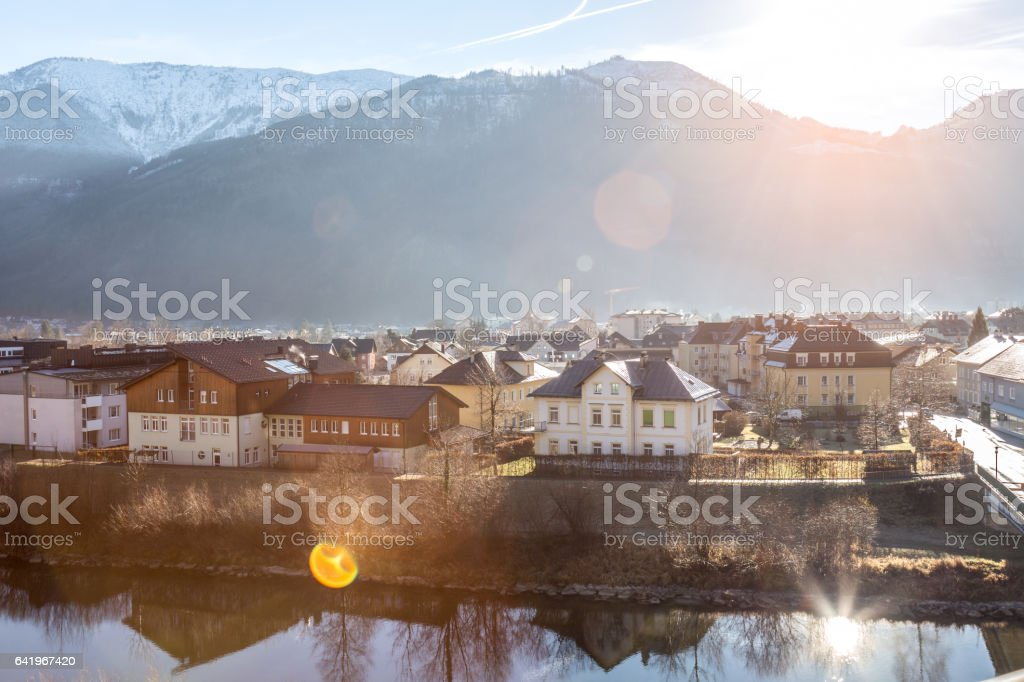 Birth of new day in small Austrian town stock photo