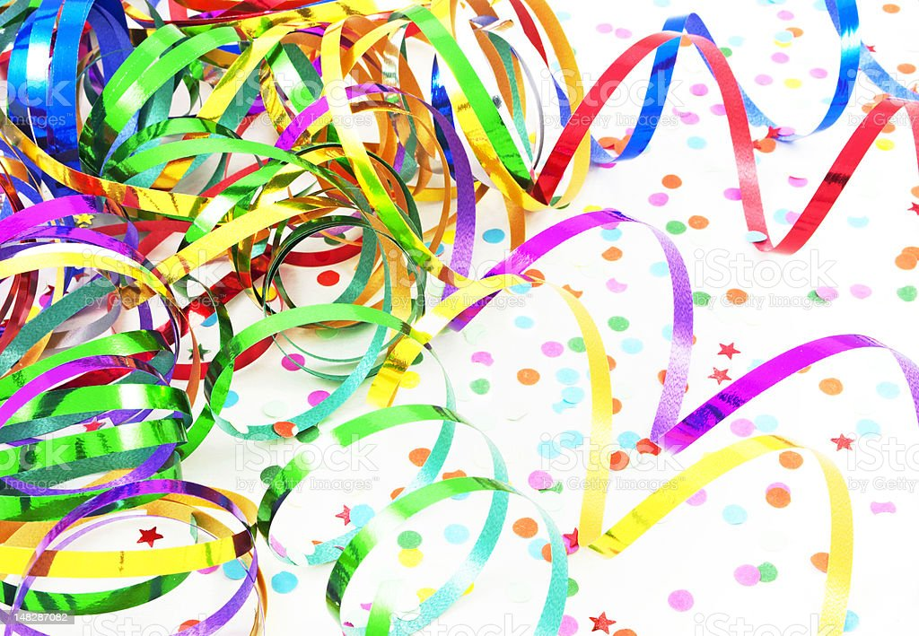 Birthday and New Year's ribbons stock photo