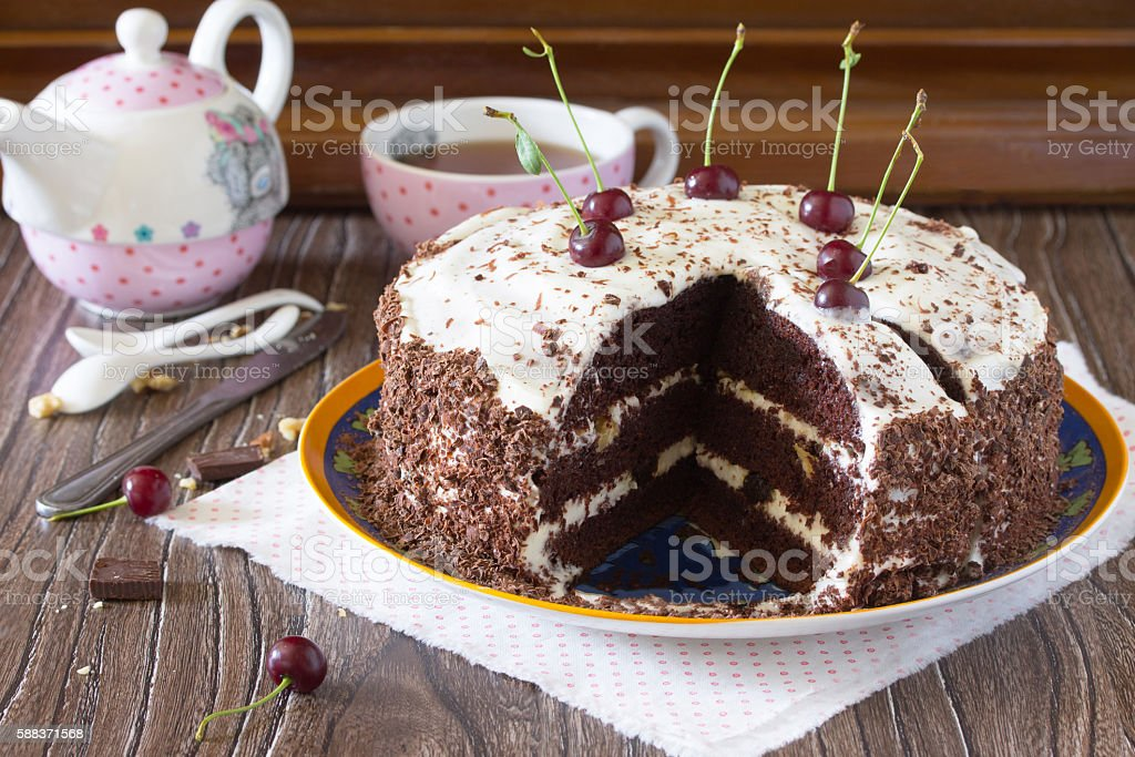 Birthday cake Black Forest, Black Forest cake, dark chocolate an stock photo
