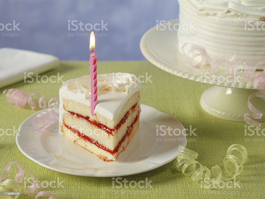 Birthday Cake Cut with Sharp Knife royalty-free stock photo