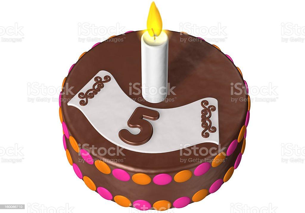 birthday cake five stock photo