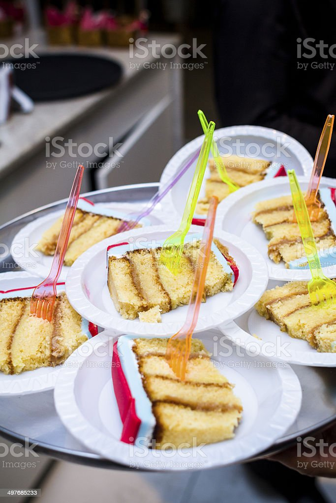 Birthday cake slices stock photo
