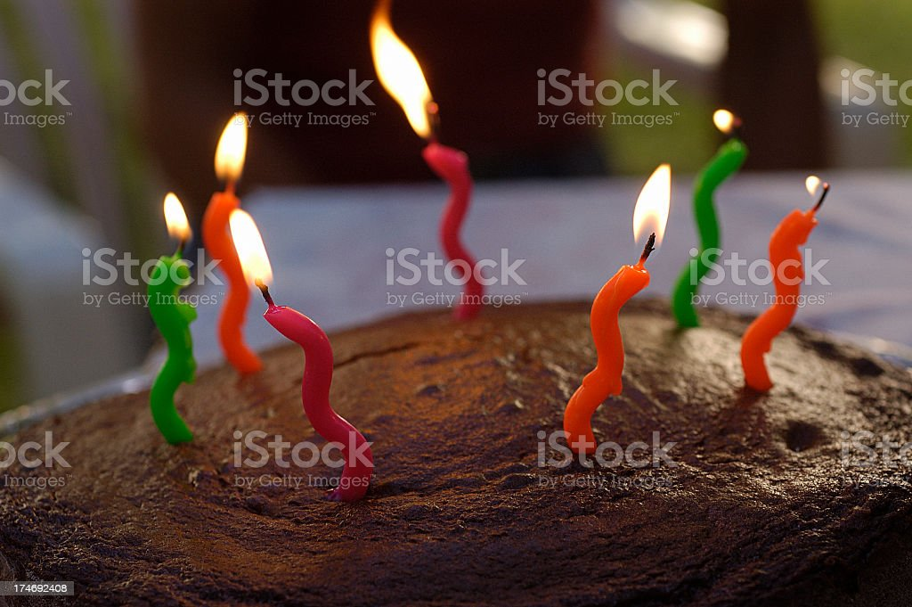 Birthday cake with 7 candles royalty-free stock photo