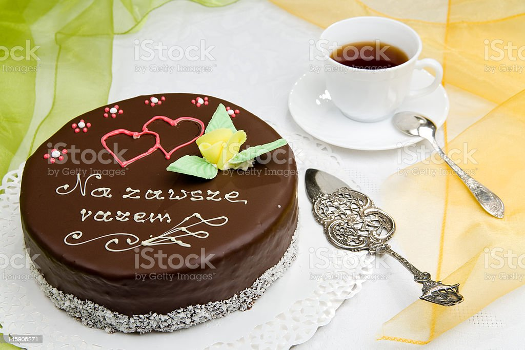 birthday cake with a cup of coffee royalty-free stock photo