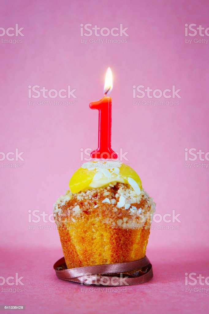 Birthday Cake With Burning Candle As Number One Stock Photo