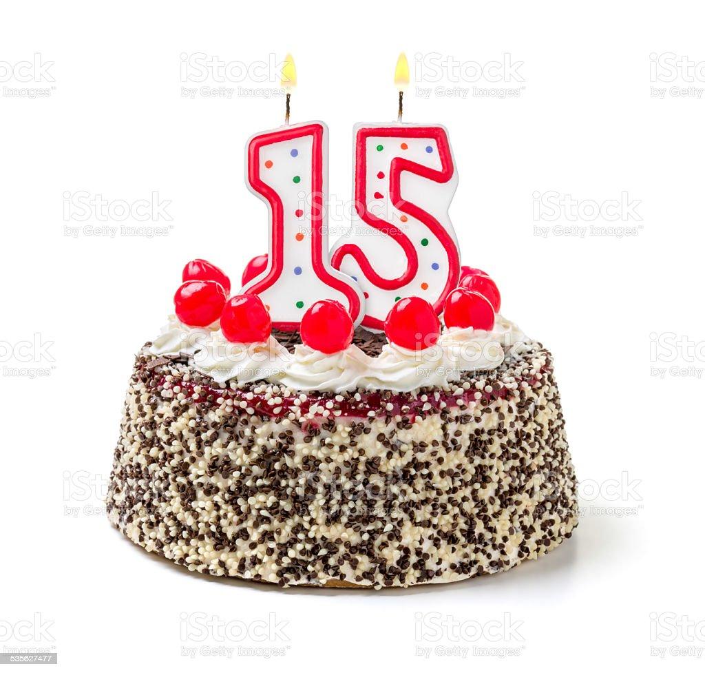Birthday Cake With Burning Candle Number  Stock Photo - 15 year birthday cake
