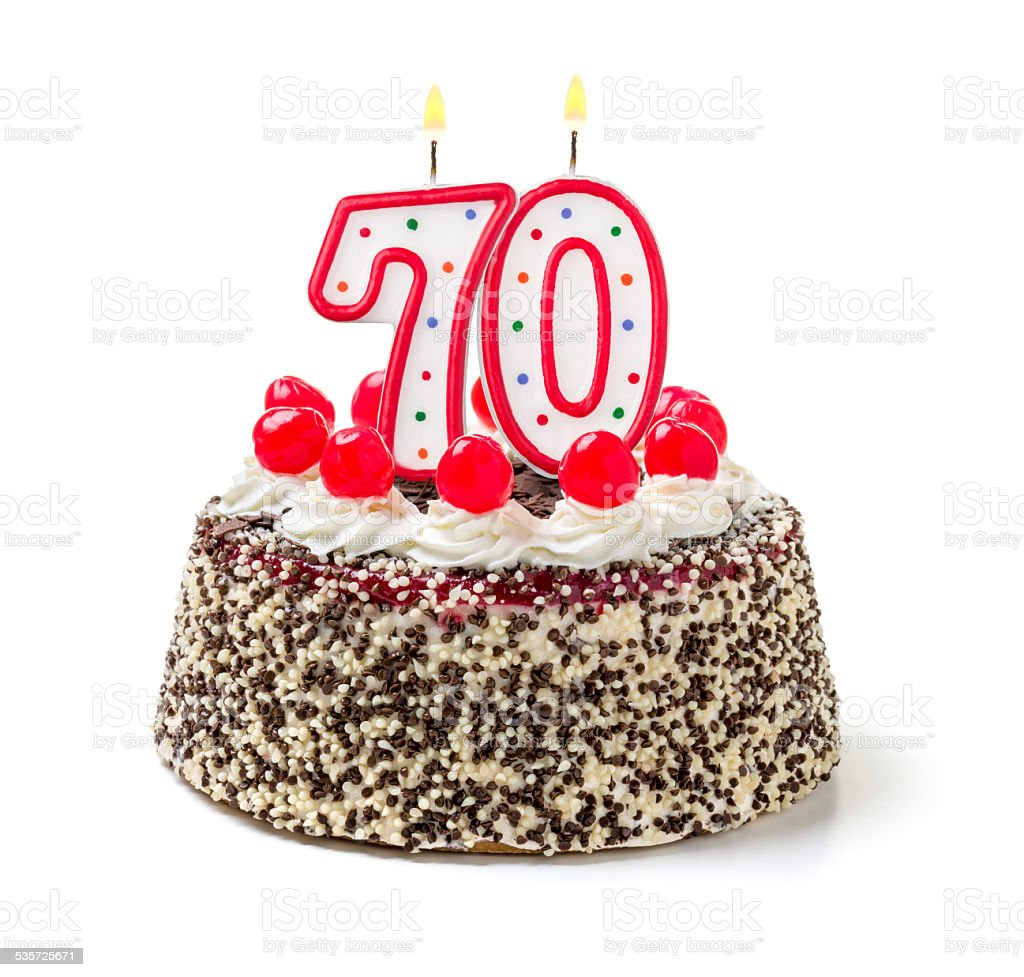 Birthday cake with burning candle number 70 stock photo