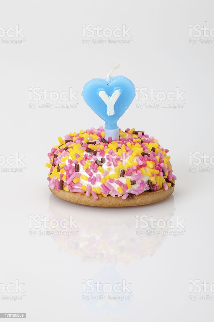 birthday cake with candle royalty-free stock photo
