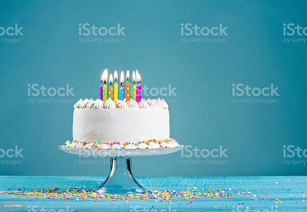 Birthday Cake with Candles royalty-free stock photo
