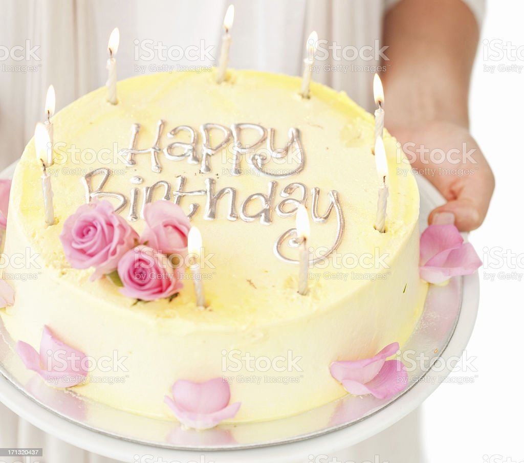 Birthday Cake With Lit Candles - Isolated royalty-free stock photo