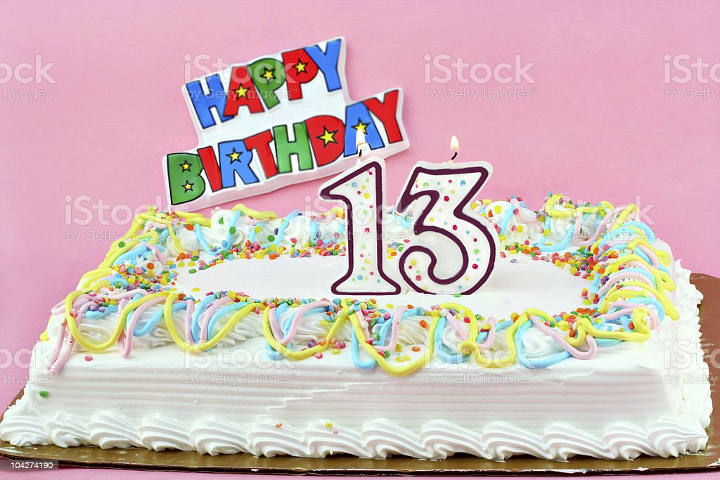 Birthday Cake with Number 13 and  Lit Party Candles stock photo