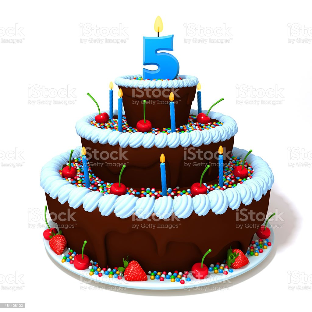 Birthday cake with number five stock photo