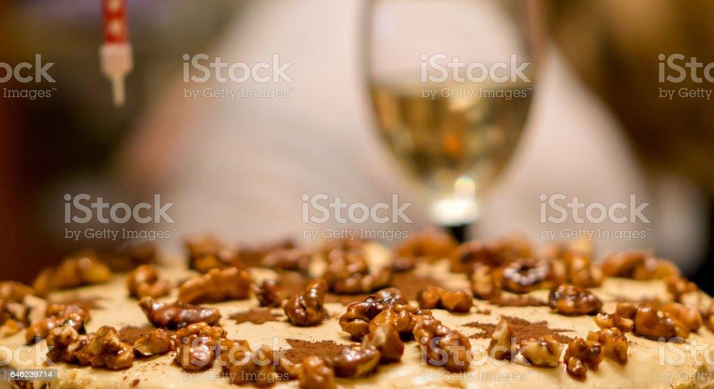 Birthday cake with nuts stock photo