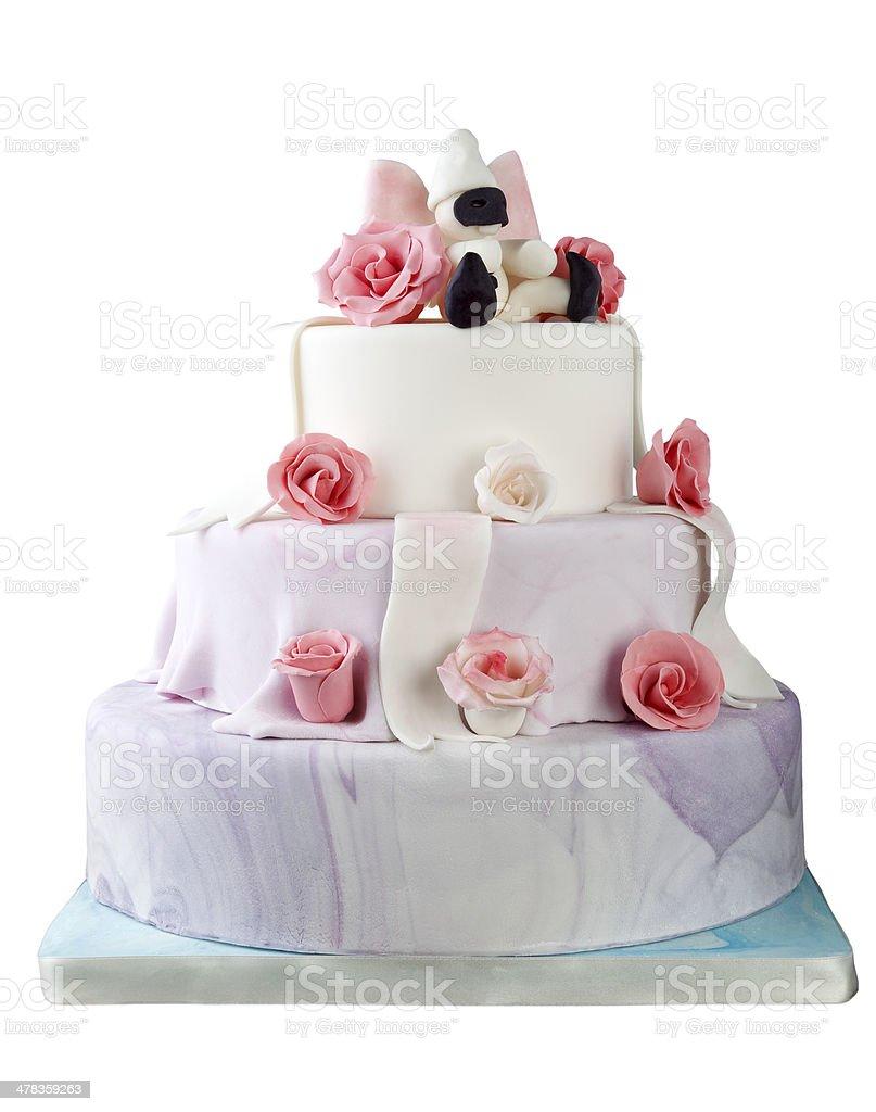Birthday cake with roses on white stock photo