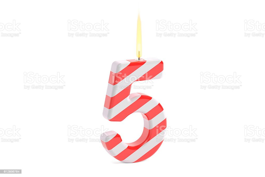 Birthday candle with number 5, 3D rendering vector art illustration