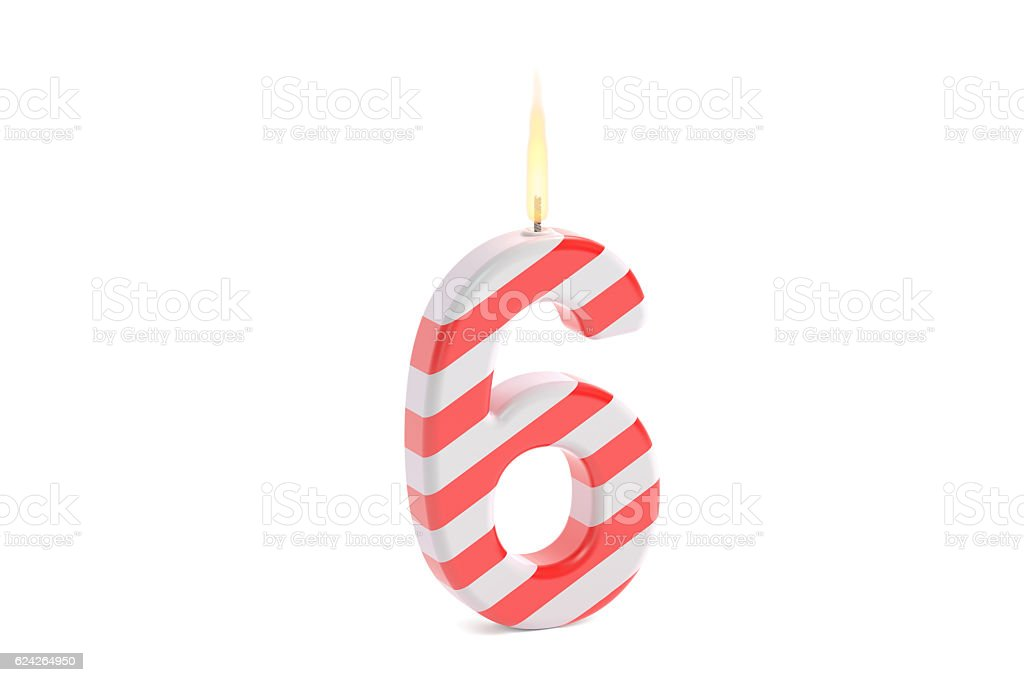 Birthday candle with number 6, 3D rendering stock photo