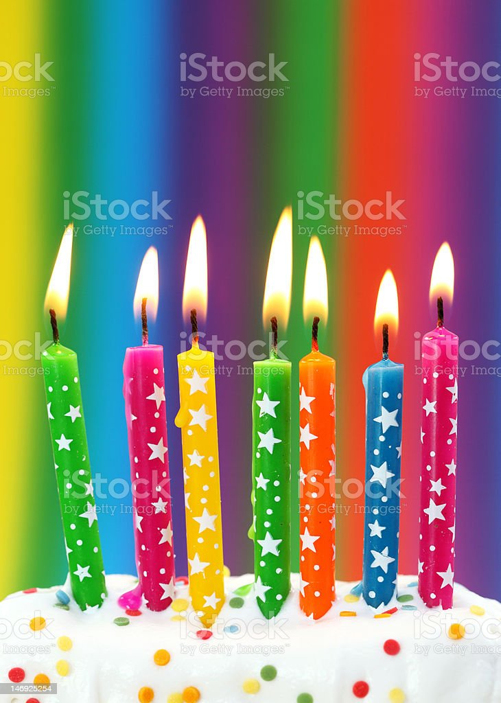 Birthday candles in rainbow colors royalty-free stock photo