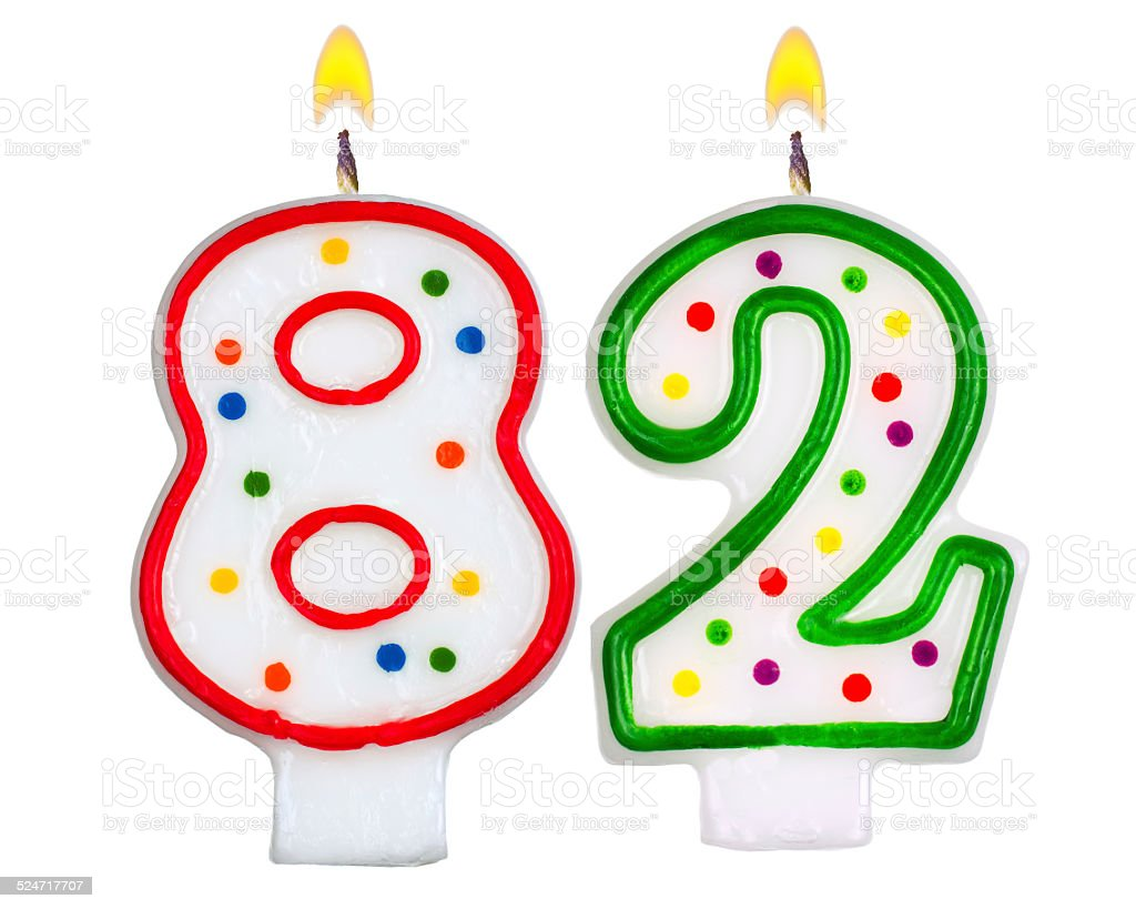 Birthday candles number eighty two isolated on white background stock photo