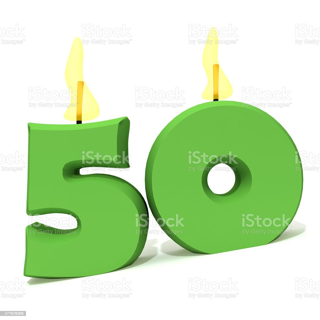 Birthday candles number fifty stock photo