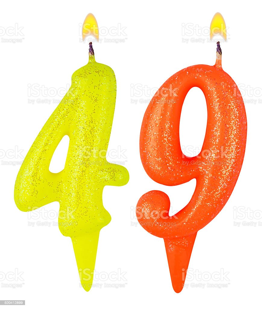 Birthday candles number forty nine isolated on white background stock photo