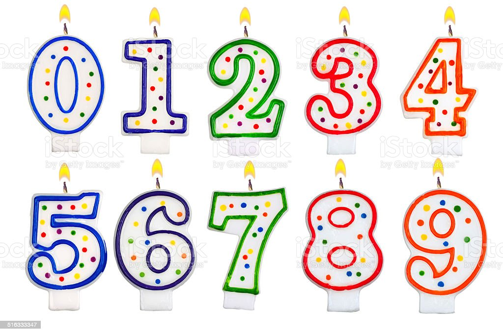Birthday candles number set isolated on white background stock photo