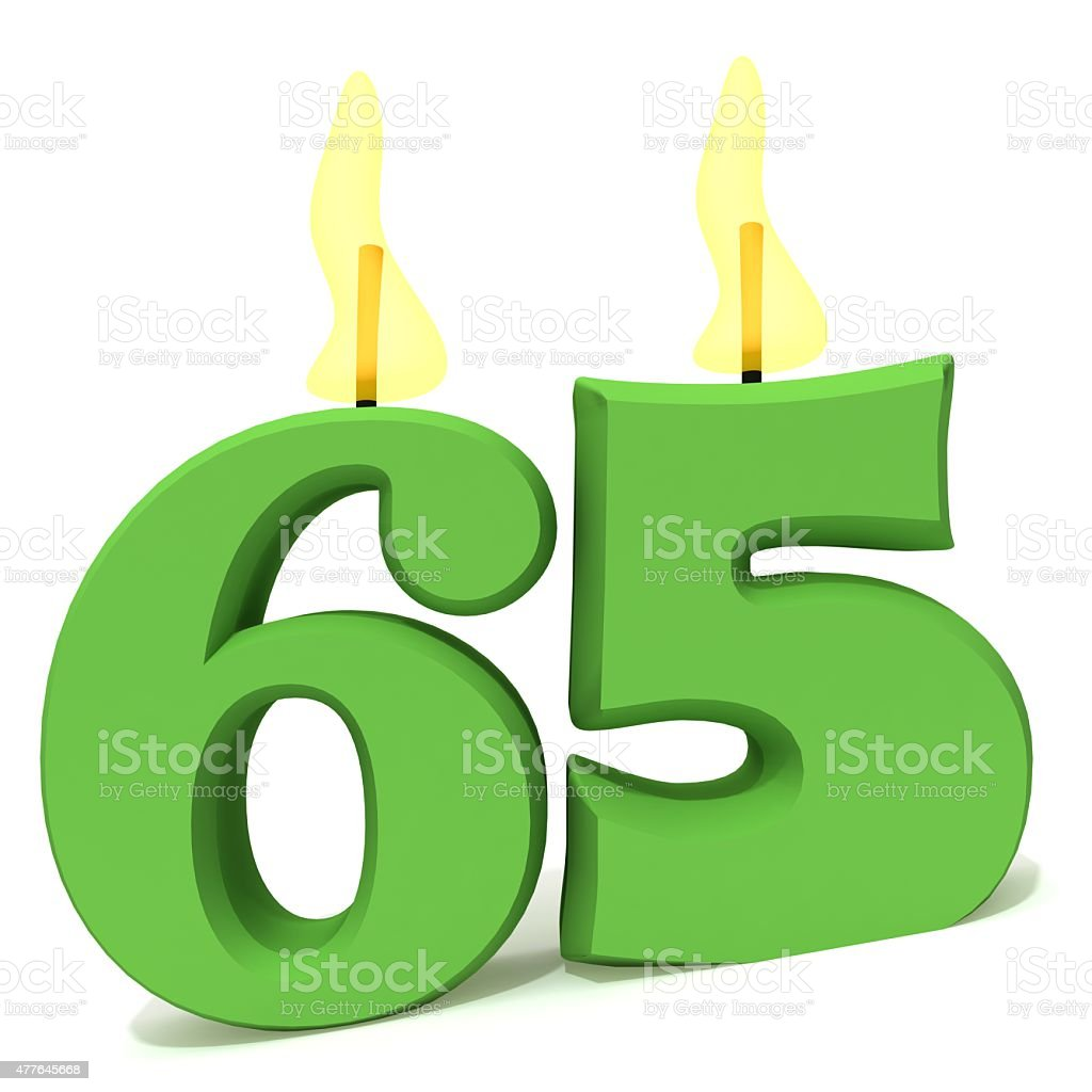 Birthday candles number sixty five stock photo