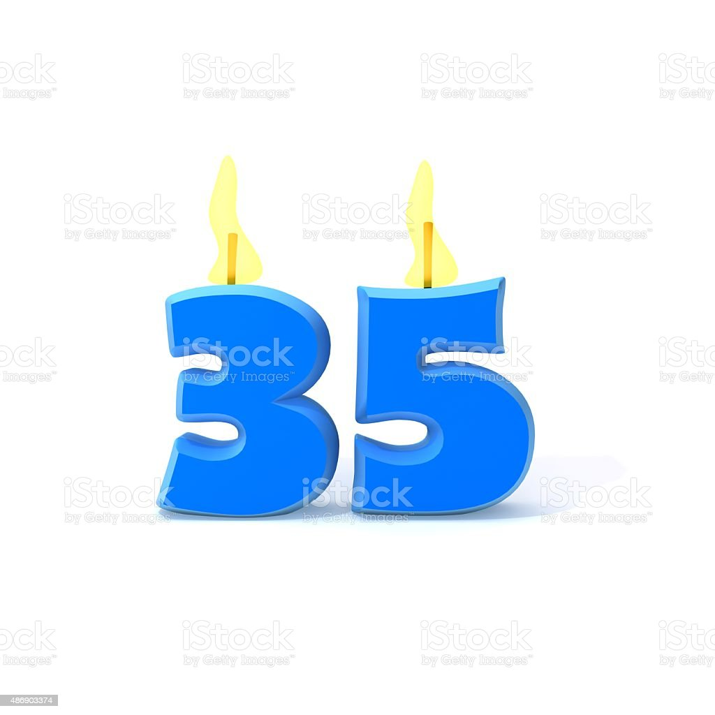 Birthday candles number thirty five stock photo