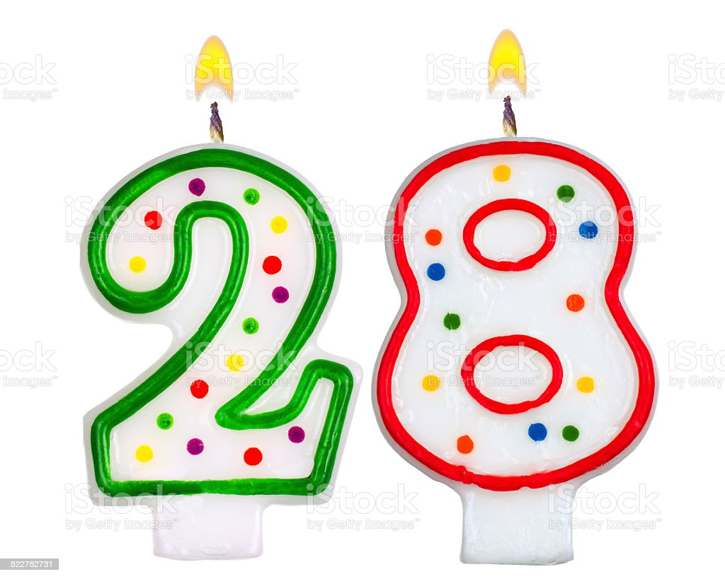 Birthday candles number twenty eight isolated on white stock photo