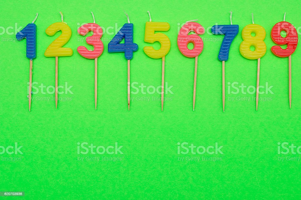 Birthday candles numbers 1 to 9 stock photo