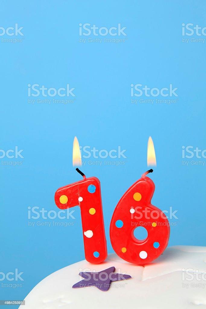 16 Birthday candles stock photo