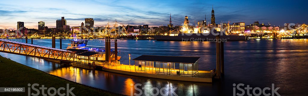 Birthday celabration in the harbor of hamburg stock photo