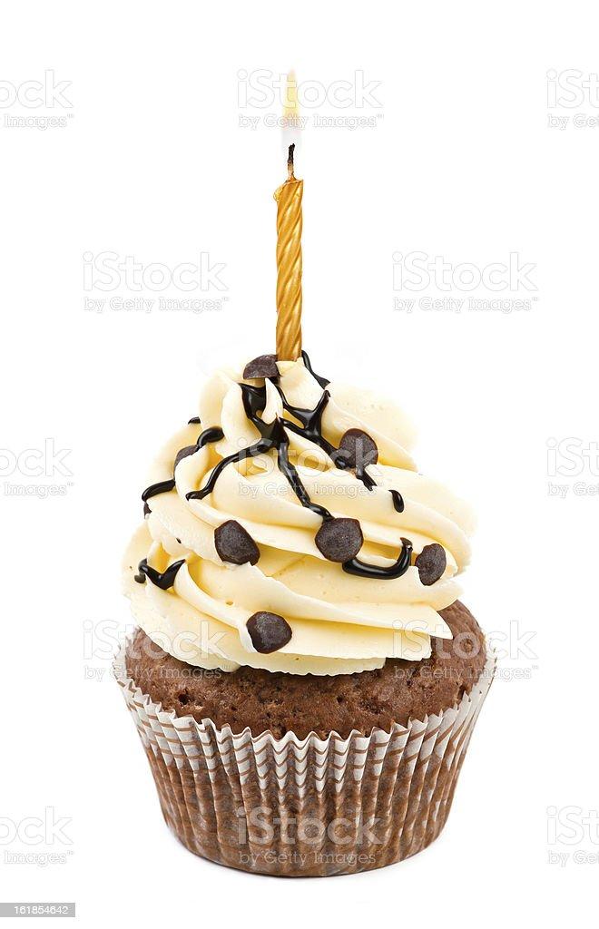 Birthday Chocolate cupcake stock photo