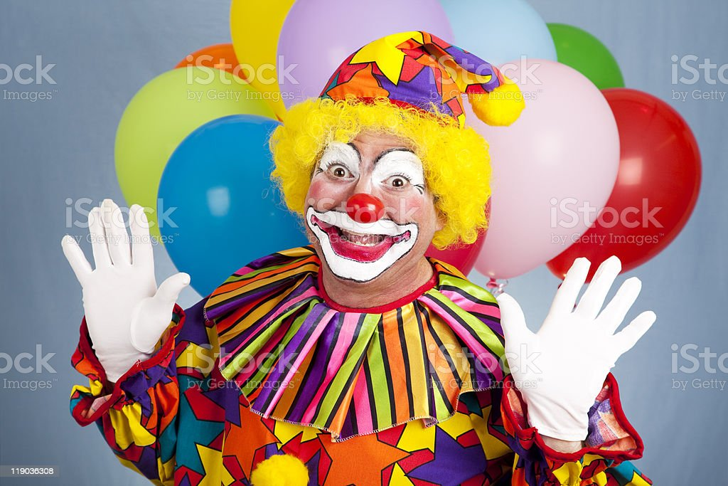 Birthday Clown - Surprise stock photo