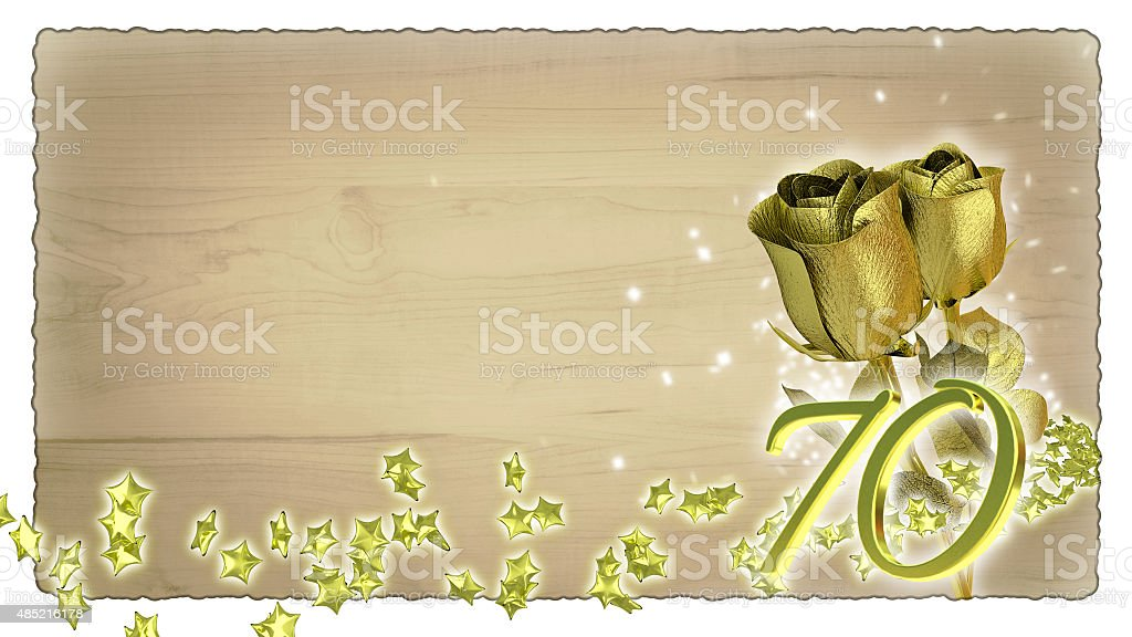 birthday concept with golden roses and star particles - 70th stock photo