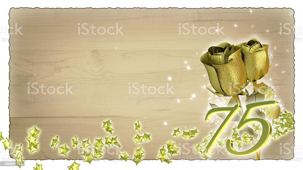 birthday concept with golden roses and star particles - 75th stock photo