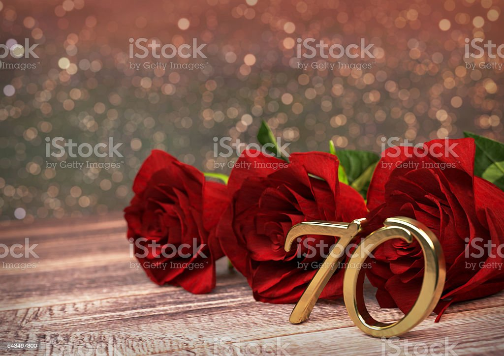 birthday concept with red roses on wooden desk. seventieth. 70th stock photo