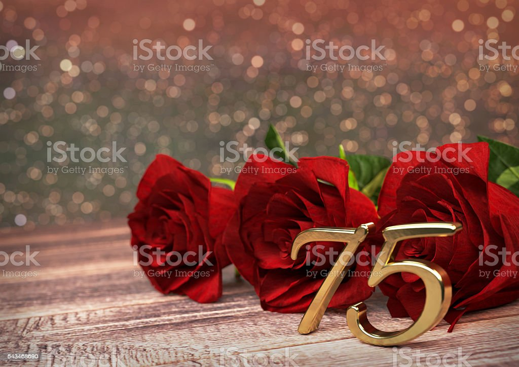 birthday concept with red roses on wooden desk. seventyfifth. 75th stock photo