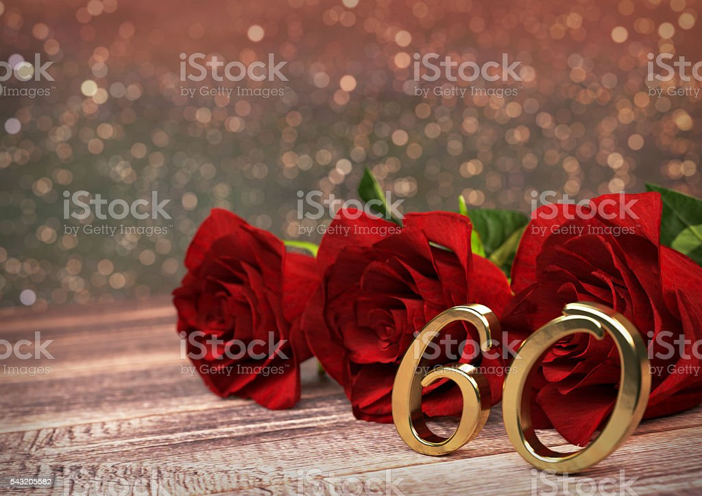 birthday concept with red roses on wooden desk. sixtieth. 60th stock photo