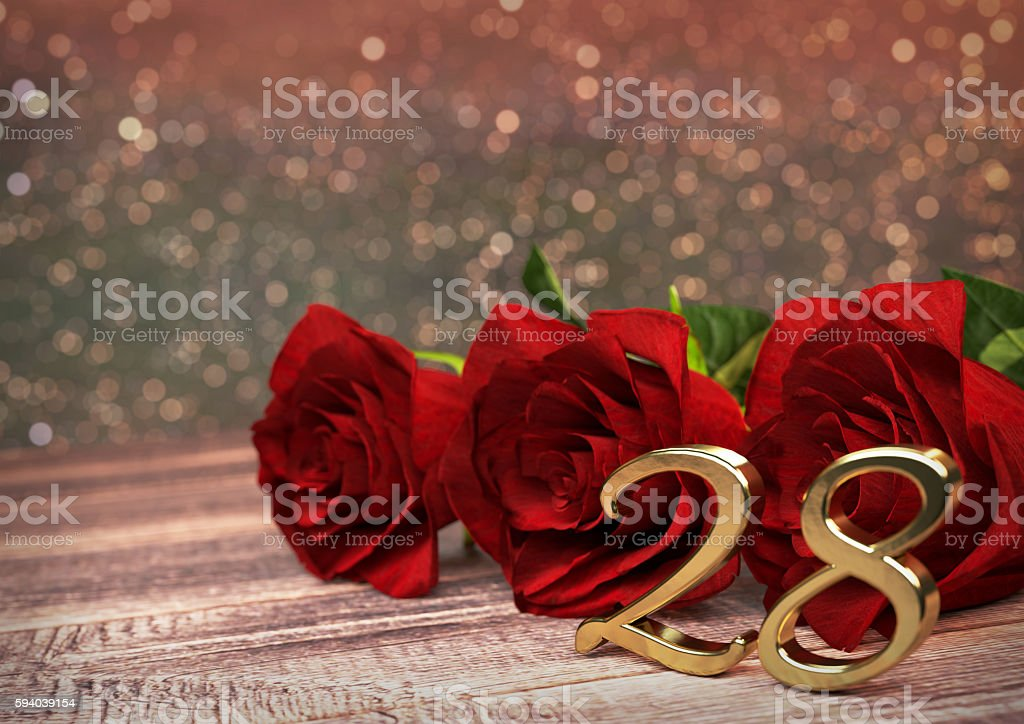 birthday concept with red roses on wooden desk. twenty-eighth stock photo