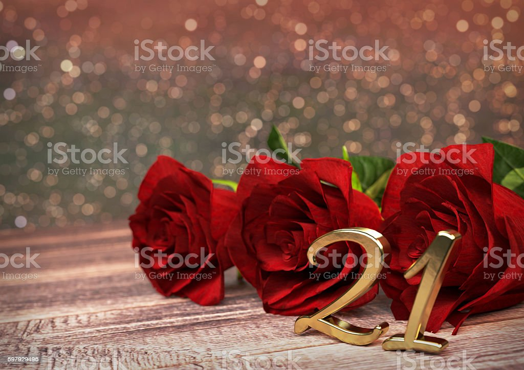 birthday concept with red roses on wooden desk. twenty-first stock photo