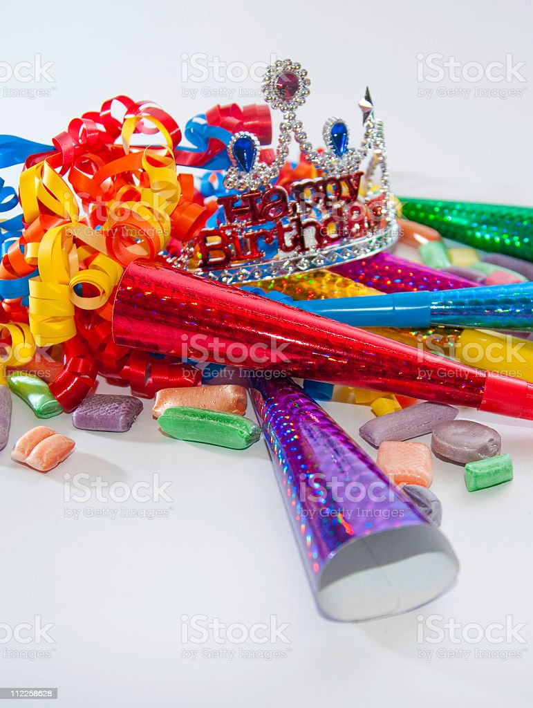 birthday crown and party supplies royalty-free stock photo