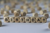 birthday - cube with letters, sign with wooden cubes